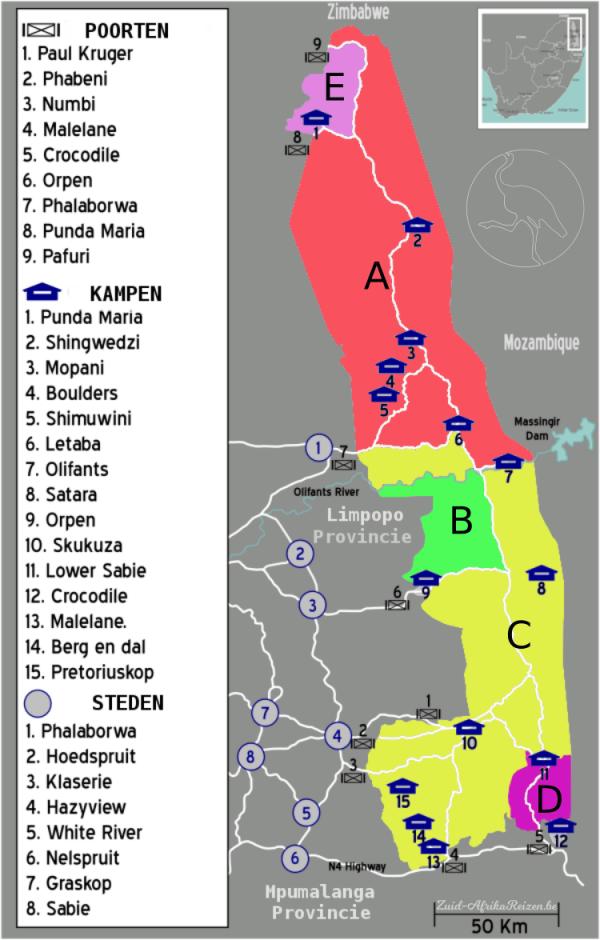Kaart Krugerpark ~ Zuid-Afrika
