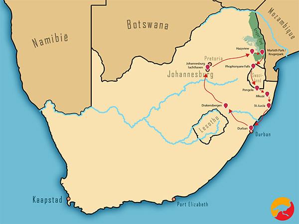 Kaart reispakket Zulu