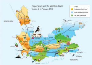 Kaapstad watertekort kaart 2018 : waterschaarste per regio